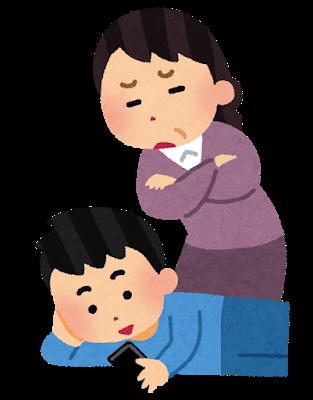 スマホをいじる子供を注意する母親のイラスト