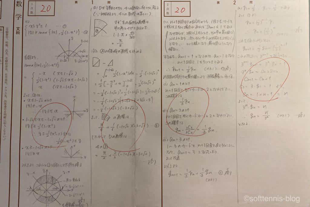 東大模試の数学の解答用紙(満点)の画像