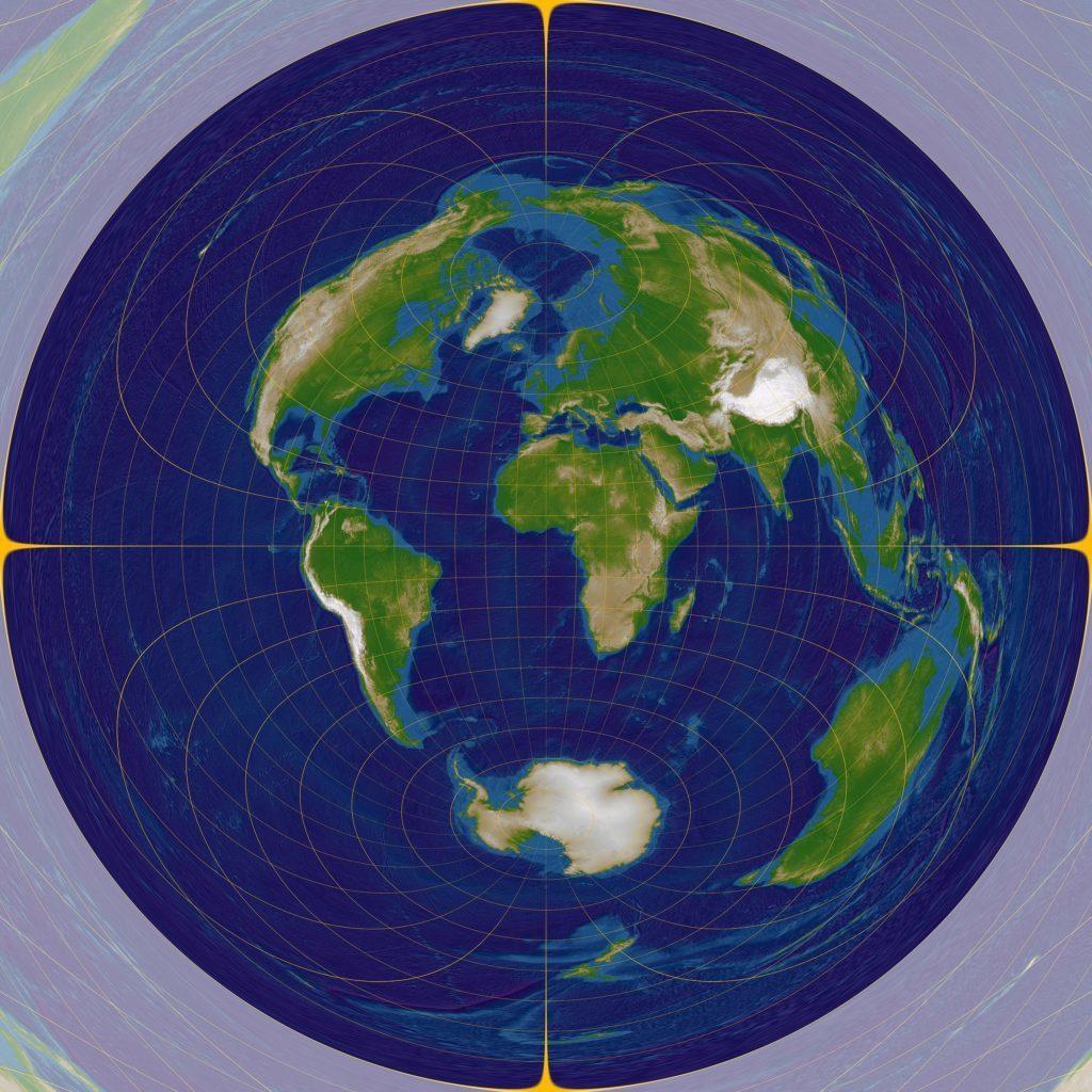 中心からの距離と方位が正しい地図(正距方位図法)の画像