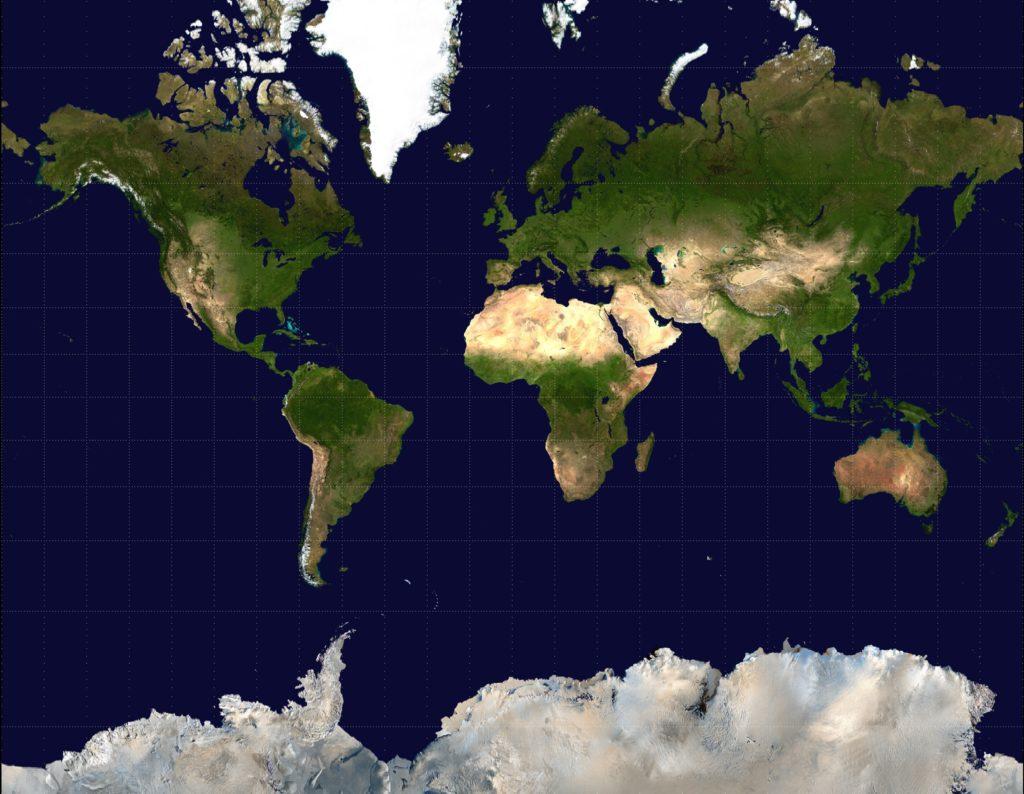 緯線と経線が直角に交わる地図(メルカトル図法)の画像